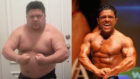 Comparaison d'une personne en état d'obésité et un culturiste